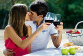 Attractive couple drinking wine on romantic picnic in countrysid — Stock Photo