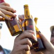 Portrait of group of friends toasting with bottles of beer. — Stock Photo #58107573