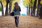 Portrait of beautiful girl walking in autumn.  — Stock Photo