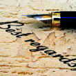 Close up of fountain pen on best regards — Stock Photo #54749581