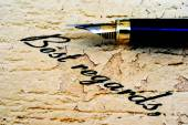 Close up of fountain pen on best regards — Stock Photo