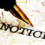 Fountain pen on notice text — Stock Photo #54971079