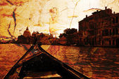 A Gondola on the Grand Canal glides toward — Stock Photo