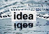 Idea text on grunge background — Stock Photo