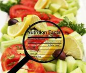 Nutrition facts on fresh salad — Stock Photo