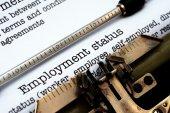 Employment form on typewriter — Stock Photo