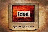 Idea text on vintage TV — Stock Photo