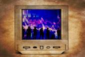 Dancing people on vintage TV — Stock Photo