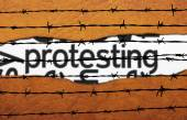 Protest concept on barbwire — Stock Photo