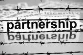 Partnership nad barbwire concept — Stock Photo