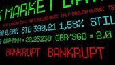 Stock ticker reads bankrupt — Stockfoto