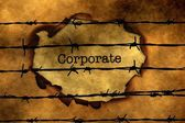 Corporate concept against barbwire — Stock Photo