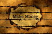 Make money concept against barbwire — Stock Photo