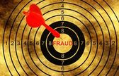 Fraud target on grunge background — Stock Photo