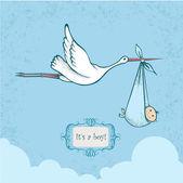Stork carrying newborn baby-boy — Stock Vector