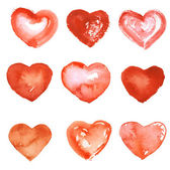 Hand drawn watercolor hearts — Vector de stock