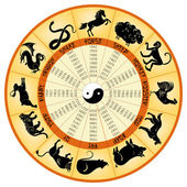 Chinese calendar with sings animals — Stock Vector