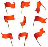 Nine red empty flags — Stock Vector