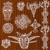 Tribal ornamental masks — Stock Vector