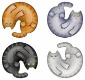 Cartoon circle cats — Stock Vector