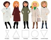Types of female figures — Stock Vector