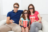 Family Watching 3D Movie — Stock Photo