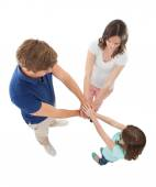Family Stacking Hands — Stock Photo