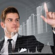 Businessman Touching Transparent Screen With Growing Bar Graph — Stock Photo #53302371