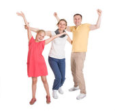 Excited Young Happy Family Jumping — Stock Photo