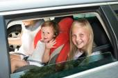 Happy Kids Traveling By Car — Foto Stock
