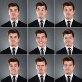 Collage Of Businessman With Various Expressions — Stock Photo