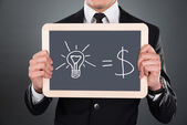 Businessman Holding Slate With Idea Equation — Stock Photo