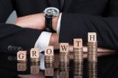 Businessman With Growth Blocks On Stacked Coins — Stock Photo