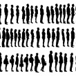 Collage Of Silhouette People Standing In Line — Stock Vector #53302441