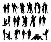 Silhouette Couple Doing Various Activities — Vecteur