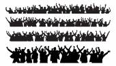Silhouette Business People Raising Arms In Victory — Stock Vector