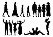 Collage Of Silhouette Families — Stock Vector