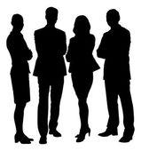 Silueta podnikatelé stojící s rukama zkříženýma — Stock vektor