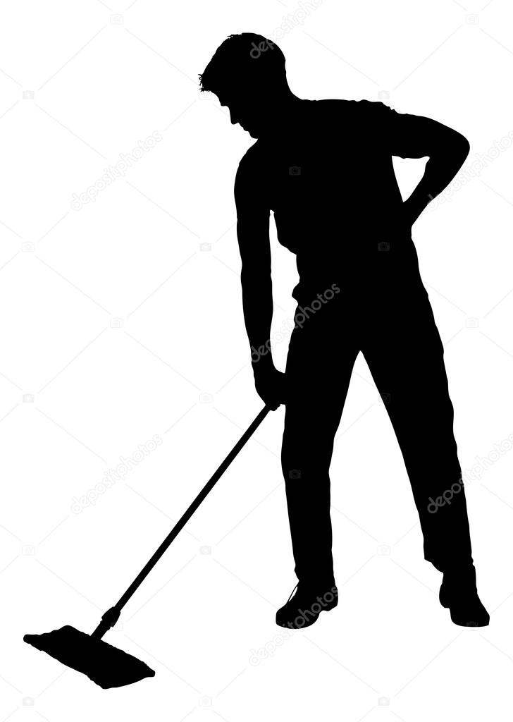 Silhouette Man Sweeping Floor With Mop Stock Vector