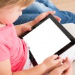 Small Girl Using Digital Tablet — Стоковое фото
