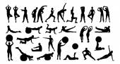 Collage Of Silhouette People Performing Various Exercises — Stock Vector