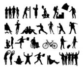 Collage Of Silhouette People Doing Various Activities — Stock Vector