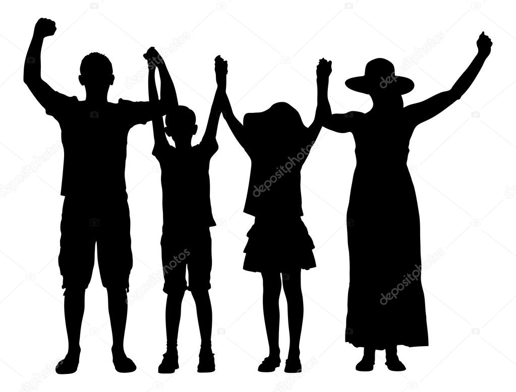 Familia Silueta Con Los Brazos Alzados
