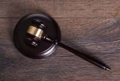 Gavel on judge table — Stock Photo
