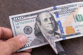 Cutting dollar currency — Stock Photo