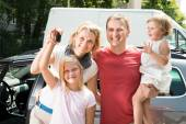 Happy Family Traveling By Car — Stock Photo