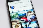 Closeup Of Apple iPhone6 With Instagram Profile On Screen — Foto de Stock