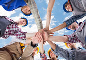 Architects Piling Hands — Stock Photo