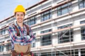 Architect  Against Building — Stock Photo