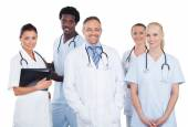 Multiethnic Medical Team Standing Over White Background — Stock Photo